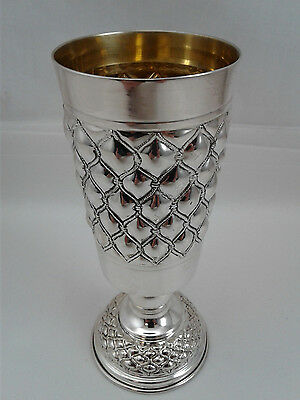 Large Kiddush Wine Cup on stem Judaica Sterling Silver 925 weight: 144 grams