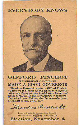 Campaign Card form 1930 for Governor of Pennsylvania Gifford Pinchot