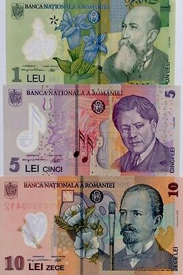 ROMANIA 2005 2008 1 5 10 Lei GREAT SET Of POLYMER UNCIRCULATED BANKNOTES