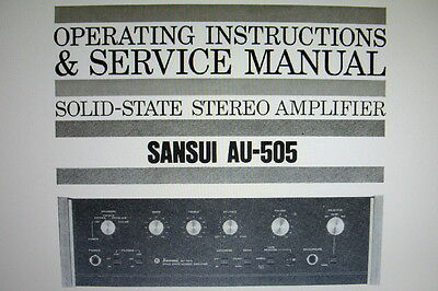 Sansui Au-505 Ss St Amp Operating Instructions And Service Manual Bound English
