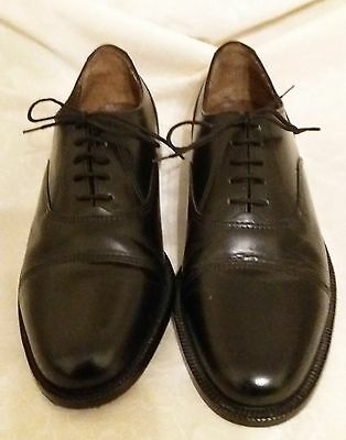 Mens Black Leather Lace Up Shoes Size 8 Extra Wide