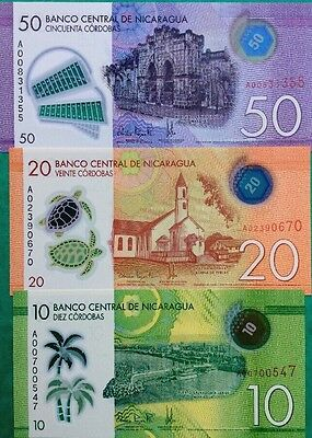 NICARAGUA NEW 2015 10 20 50 Córdoba GREAT COLOURFUL POLYMER UNCIRCULATED NOTES