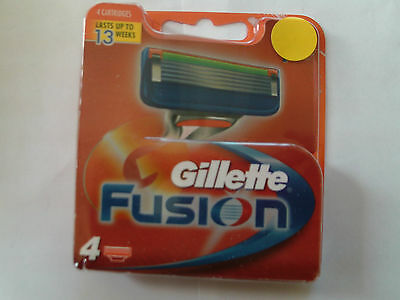 """Gillette """"fusion"""" Replacement Cartridge Blades ...pack Of 4."""