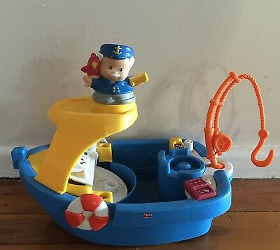 Fisher Price Little People Blue Floaty Boat Boys Girls Toy