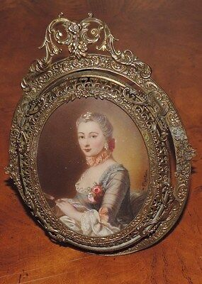 Antique Painting on Ivory Portrait Miniature by TISCHBEIN Lady Framed (E306)