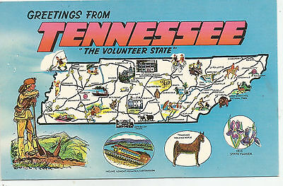 Tennessee State Map - The Volunteer State - 1950 - 1960s Postcard