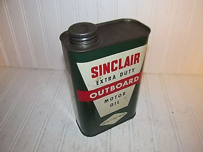 Sinclair Extra Duty Outboard Motor Oil Quart Can - Great Litho - Nice!