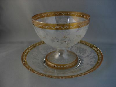 Bohemian Amber Forest Scene Etched Dessert Footed Bowl and Saucer