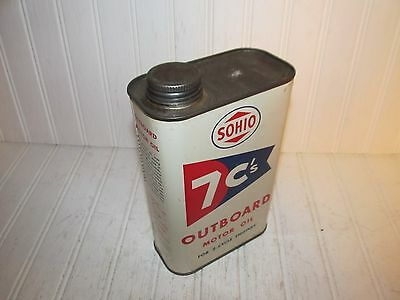 Sohio 7C's Outboard Motor Oil Quart Can - Great Litho Artwork - Nice!