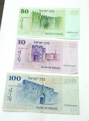 3 Original bills of old lira from Israel 1973 collector Paper Money coins