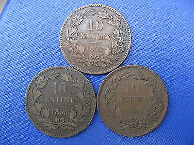 Luxembourg 10 Centimes 1854 1855 & 1860.