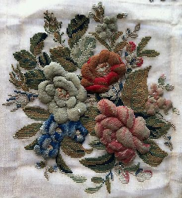 Vintage Unfinished Hand Made Needle Point Embroidered Pillow Case Metallic Beads