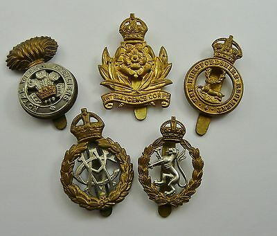 Vintage Ww1 Period Lot Of 5 Assorted Military Cap Badges