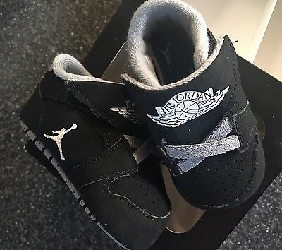 Baby Boys Trainers Black Nike Jordan's Size 1.5 Soft Soles Pram Shoes