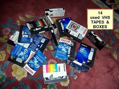 14 USED VHS VIDEO TAPES PRE-RECORDED SOLD AS BLANKS VARIOUS BRANDS - Good Shape!