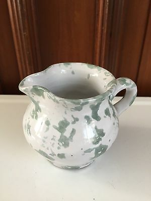 Vintage BYBEE POTTERY Kentucky CREAMER Cream PITCHER Speckled Sponge GREEN Gift