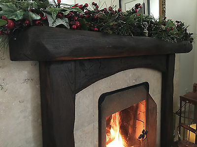 """6""""/4"""" SOLID OAK BEAM, Wooden, Rustic Fireplace Surround with Arched Cross Board"""
