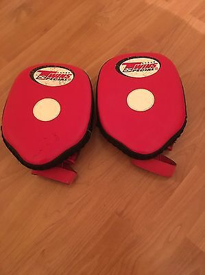 Twins Focus Mitts/Pads, Red, Muay Thai, Boxing, MMA