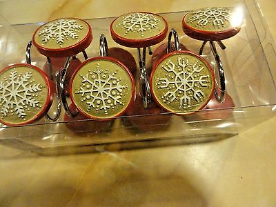 new 12 piece set Round tan white red SNOW FLAKES 3 designs winter look HOLIDAY