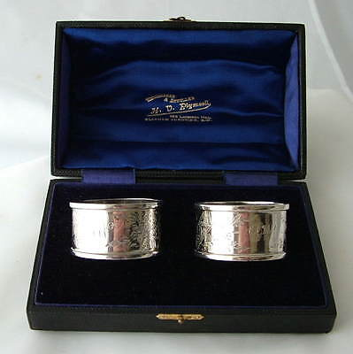 EDWARDIAN CASED SOLID SILVER MATCHED PAIR NAPKIN RINGS ~ Hallmarked 1903