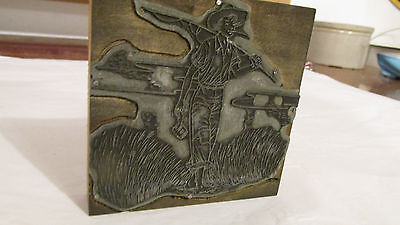 VINTAGE Boy Fishing Metal Wood Letterpress Printing Block Type NICE