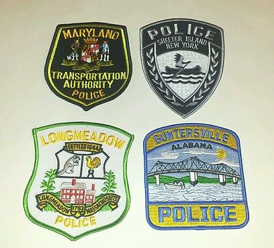 Lot of 4 US Police Patches MD NY MA AL 01/17 - 001