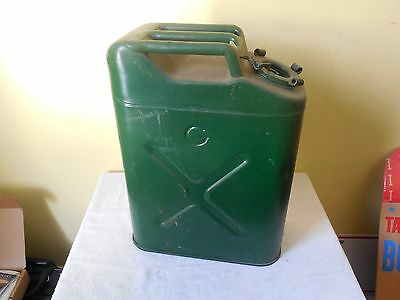 Vintage US Jerry Gas Fuel Can 5 Gal Metal Military Steel auto transportation car