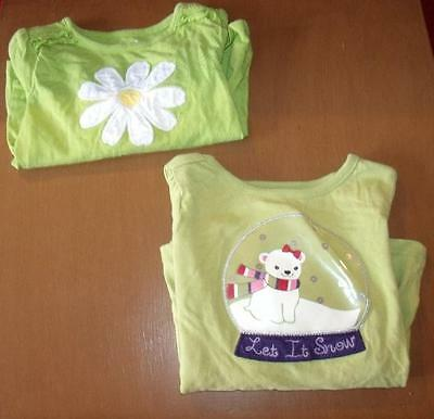 2 Toddler Girls Crazy 8 Shirts Tops Size 2 Years Green Long Sleeves 100% Cotton