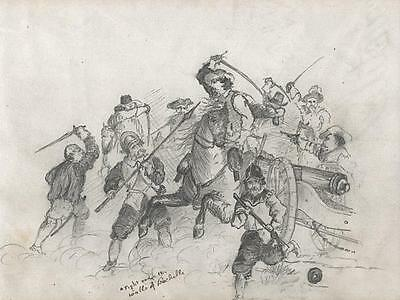 BATTLE SCENE Victorian Pencil Drawing c1860 HENRY PERCY BEAUSIRE