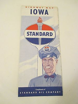 Vintage STANDARD OIL IOWA Gas Station Road Map~1950 Census