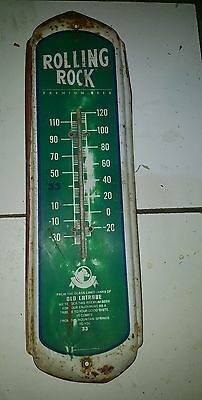 """Vintage 27"""" Rolling Rock Beer Adv Thermometer Metal Sign Latrobe Brewing Co"""