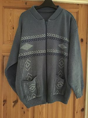 Mens Blue Zipped Patterned Cardigan Size Large