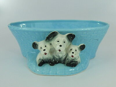 Vintage Eastgate Pottery Puppies And Basket Decorative Ornament