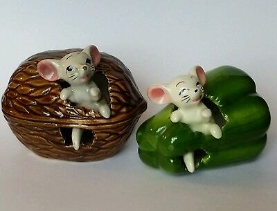 Vintage Retro Mouse In A Green Pepper & Mouse In A Walnut Ornaments