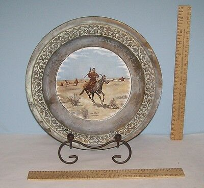 The Flight - Frederic Remington - Porcelain center Metal Plate w/holder