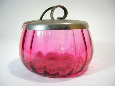 Antique Victorian Cranberry Glass Sugar Bowl Silverplate Lid