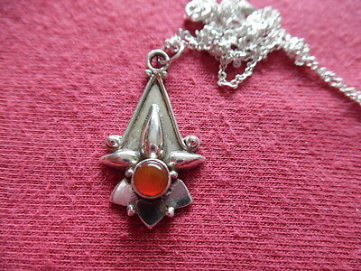 """Silver (925) Pendant With Carnelian Stone, On 18"""" Chain"""
