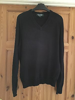 BROOKS BROTHERS Mens Black Silk Blend Fine Knit V Neck Jumper Size S