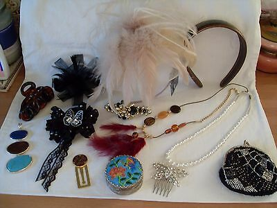 Nice Lot Of Various Ladies Hair Items,vintage Beaded Purse,jewellery,enamel Box