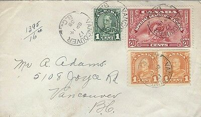 1938 Special Delivery Vancouver, BC cover with pair #178 coils & E6