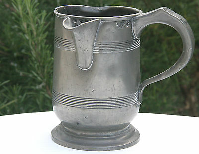 Antique scottish pewter pint tankard with spout Glasgow1864