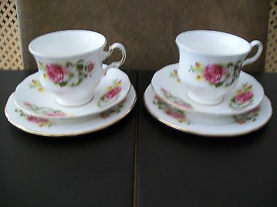 Two Queen Anne Bone China Cups, Saucers & Side Plates - Flowers
