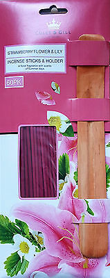 Coley & Gill Incense Sticks and Holder 60 Pack !!  Strawberry and Lily  !!