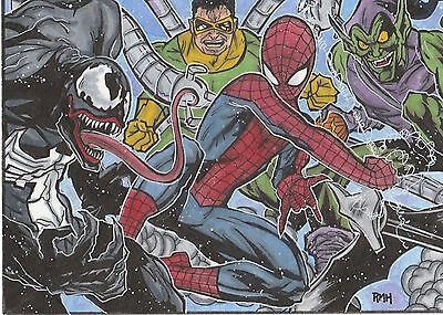 Marvel ACEO PSC 5 x 7 sketch card by Rich Hennemann. Spiderman Lot 3