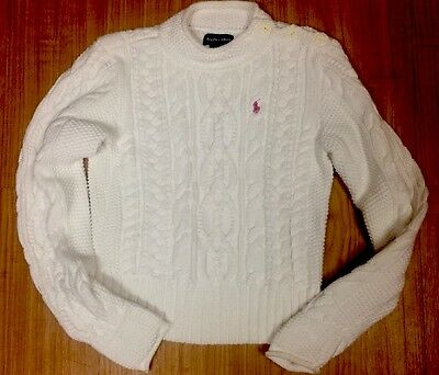 Ralph Lauren Girls Large White Cable Knit Sweater