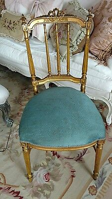 shabby antique vtg french bow old chair  wood louis style