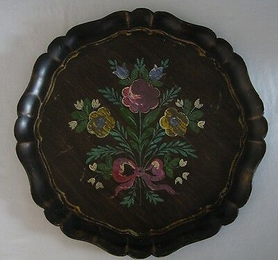 Vintage Tole Flowers Floral Florentine Hand Painted Round Wood Tray 13.5""
