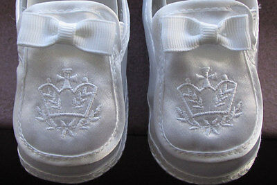 New Gift Baptism Christening Gown Baby Boy White Satin Cross Soft Shoes