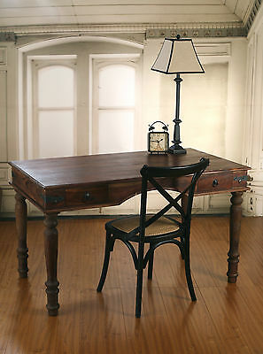 French Industrial Hardwood Desk & Chair Combo 130x75cm Rustic Timber & Metal