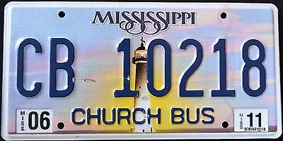 "MISSISIPPI ""  LIGHTHOUSE - CHURCH BUS ""  DISCONTINUED "" MS Graphic License Plate"